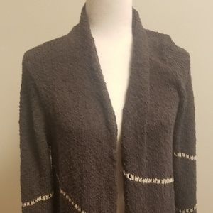 NIC+ZOE Charcoal Gray Open Front Cardigan